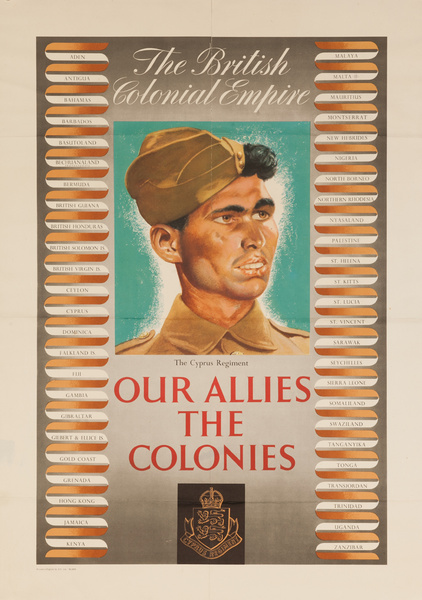 The British Colonial Empire, Our Allies in the Colonies, Original Britsish post-WWII Poster The Cyprus Regiment