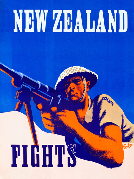 New Zealand Fights Original American WWII poster