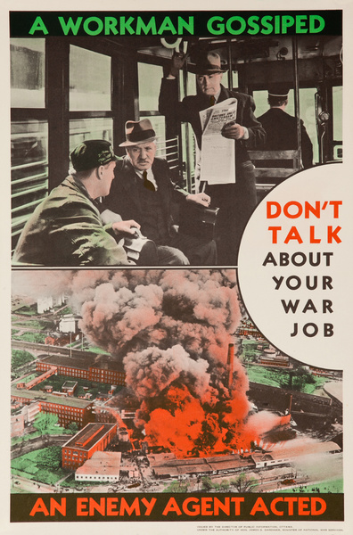 Don't Talk About Your War Job, Original Canadian WWII Security Poster