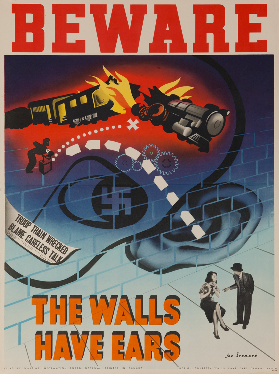 Beware, The Walls Have Ears, Original Canadian WWII Poster