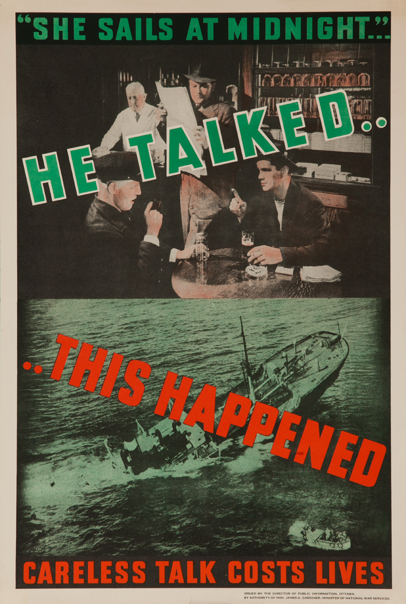 He Talked... This Happened, Original Canadian WWII Poster