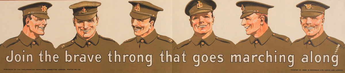 Join the brave throng that goes marching along, British WWI Parliamentary Recruiting Committee Poster