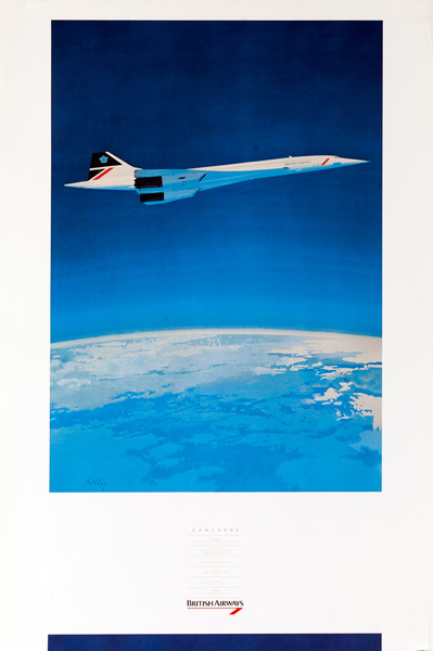 British Airways Concorde Airliner Poster, Curvature of the Earth