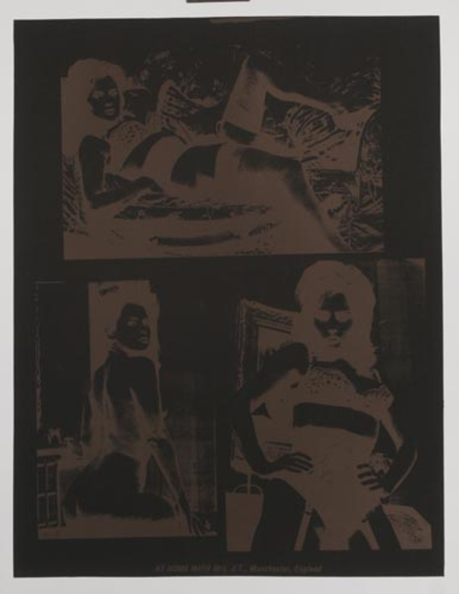 At Home With Mrs. J.T., Manchester, England Original Peter Gee Silkscreen Print Black Brown