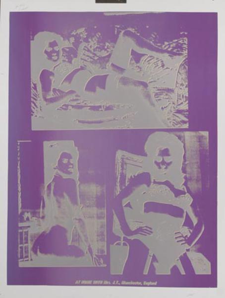 At Home With Mrs. J.T., Manchester, England Original Peter Gee Silkscreen Print purple silver