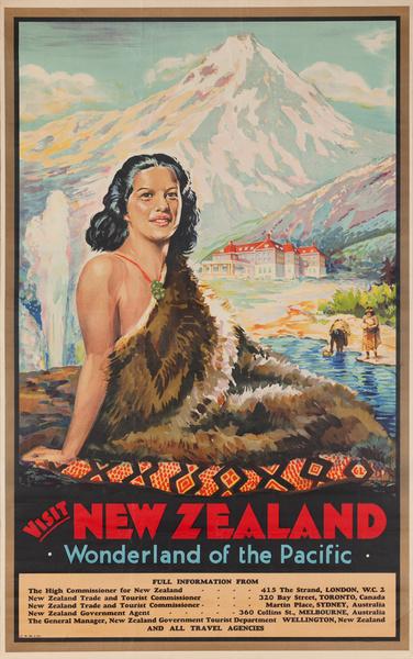 Visit New Zealand, Wonderland of the Pacific, Original Travel Poster