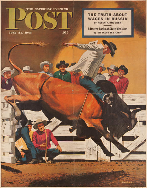 Saturday Evening Post Original Advertising Poster, July 21, 1945 Rodeo Bullrider