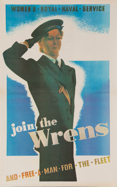 Join the Wrens, Original WWII British Women's Recruiting Poster