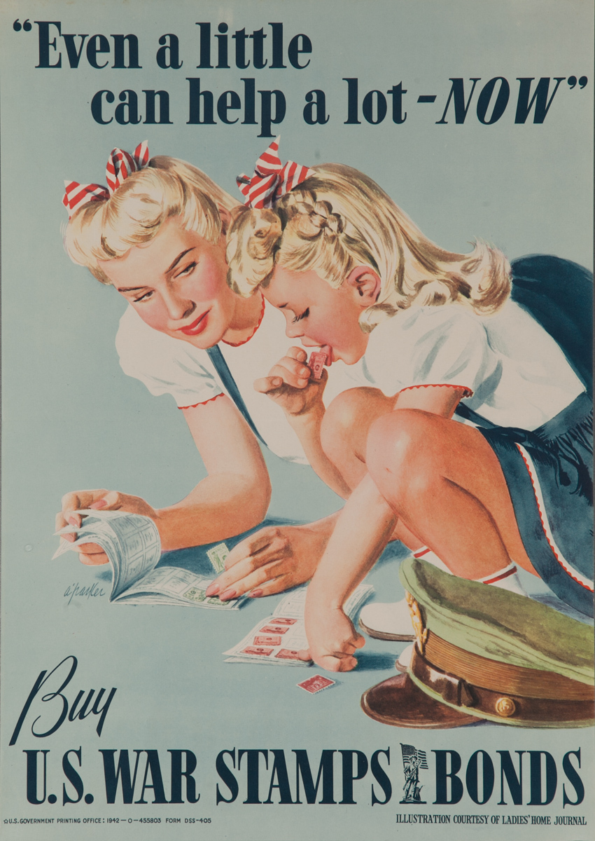 Even a little can help a lot - NOW, Buy US War Stamps and Bonds, Original WWII Posters