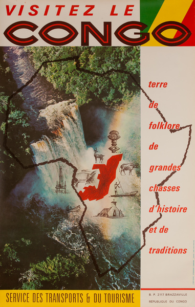Visetez le Congo, Original African CongoTravel Poster