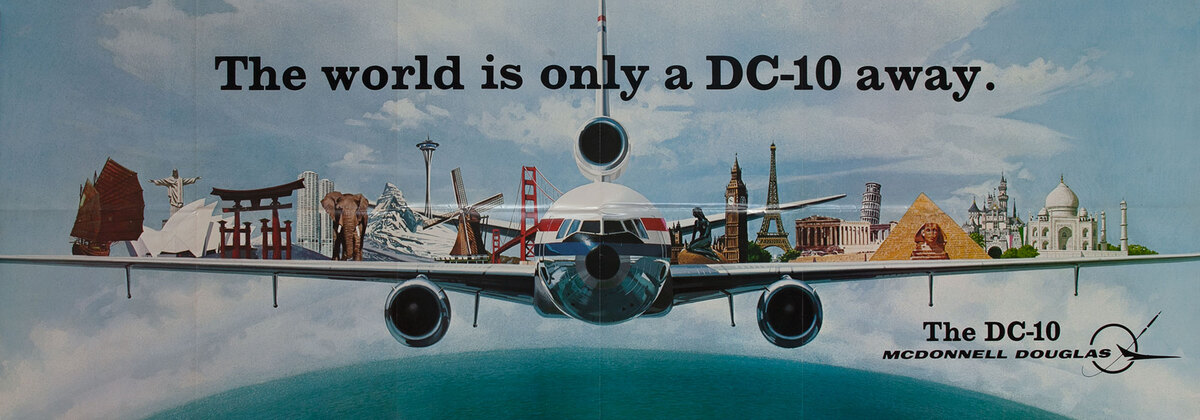The world is only a DC-10 away, Original Aviation Poster