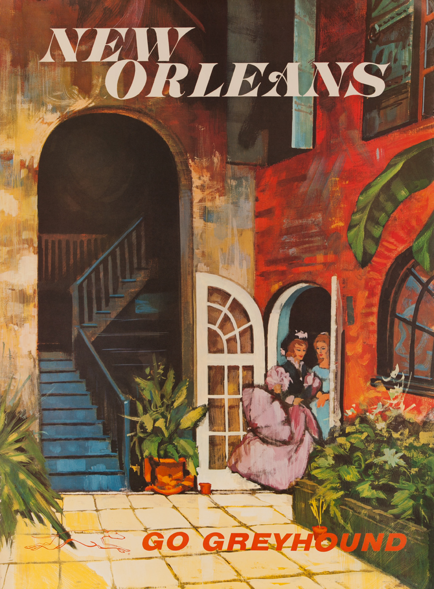 Greyhound Bus Lines Original Travel Poster, New Orleans, large