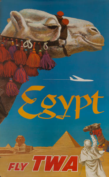 Original TWA Egypt Travel Poster, Camel, jet