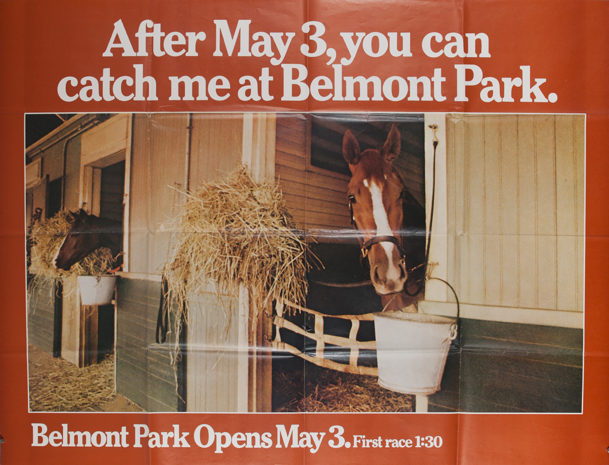 After May 3, you can catch me at Belmont Park. Original Horse Racetrack Poster