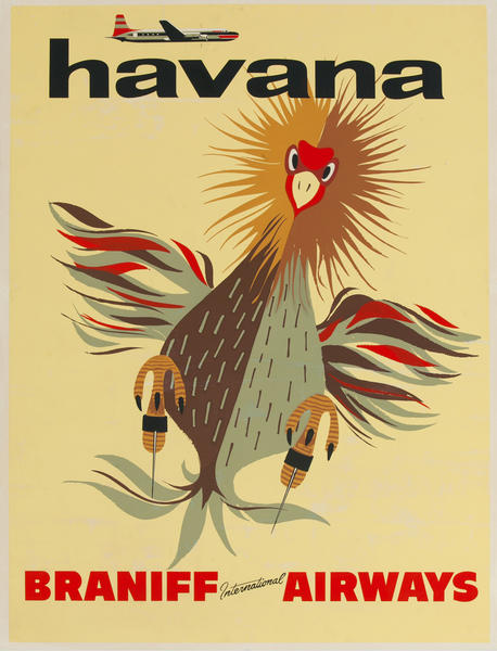 Braniff International Airways Havana, Rooster Original Travel Poster