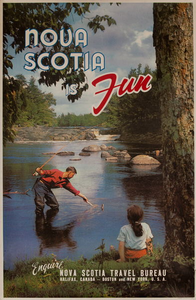 Nova Scotia is Fun, Original Canadian Travel Poster, Flyfishing