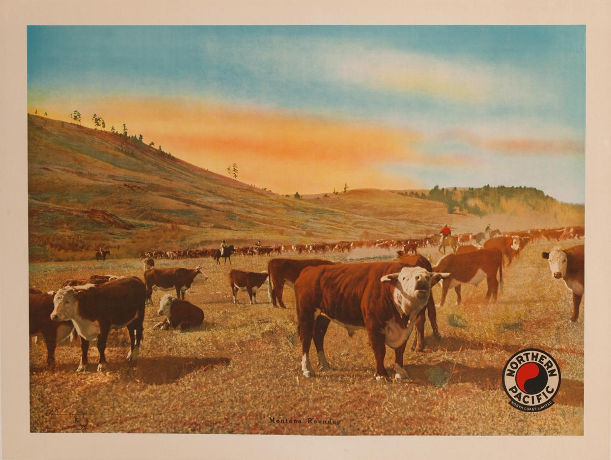 Northern Pacific Montana Roundup, Original Western Rail Poster