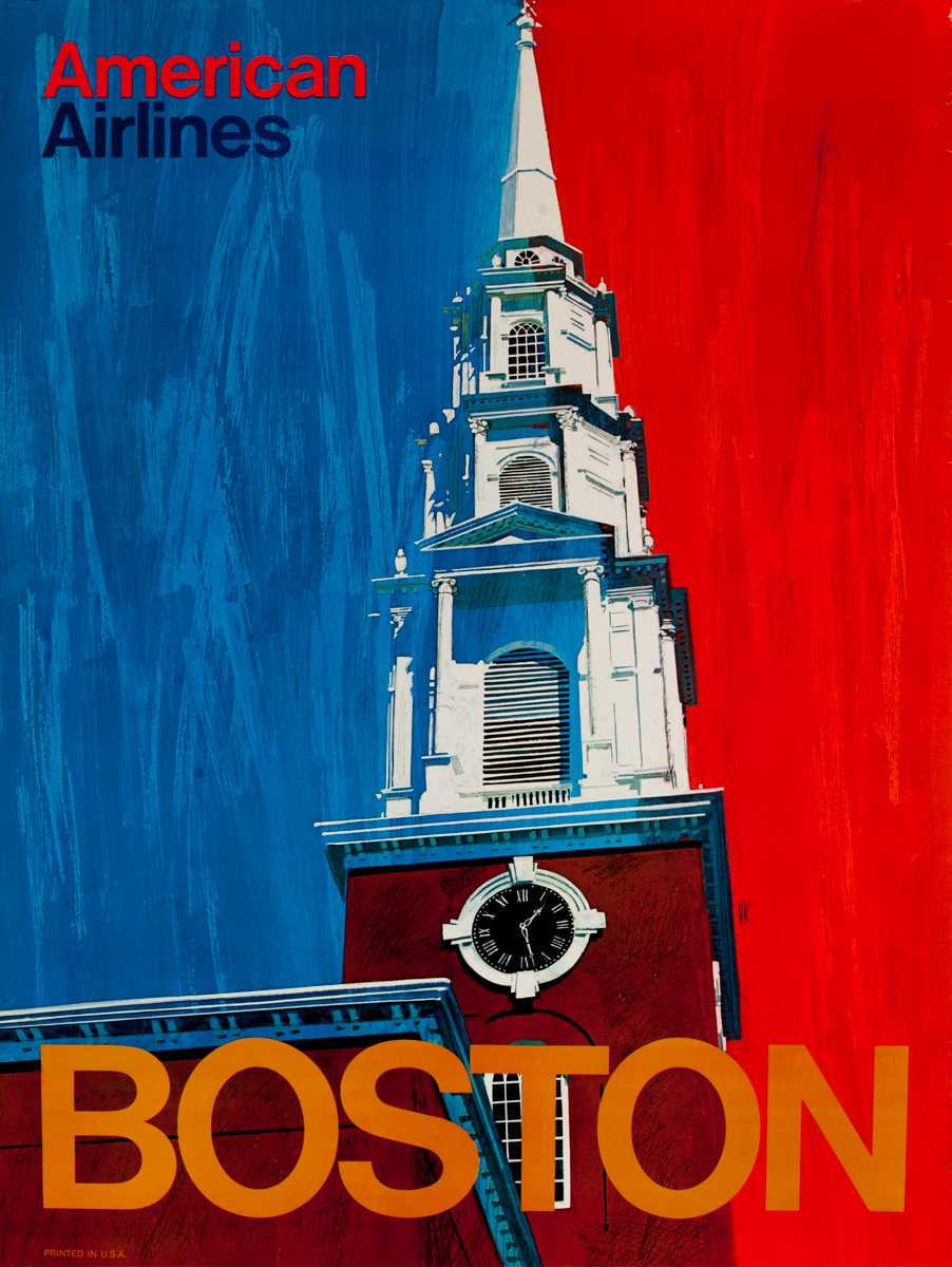 American Airlines Boston Travel Poster Old North Church