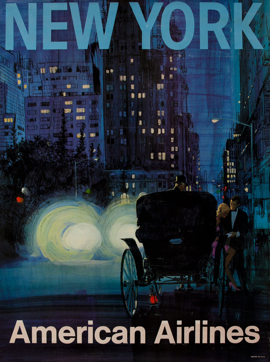 American Airlines Travel Poster New York, Hansom Cab at Dusk