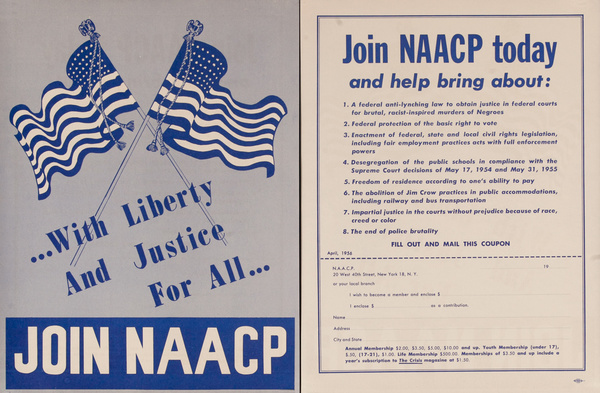 Join NAACP, With Liberty and Justice for All Original Civil Rights Flyer Poster