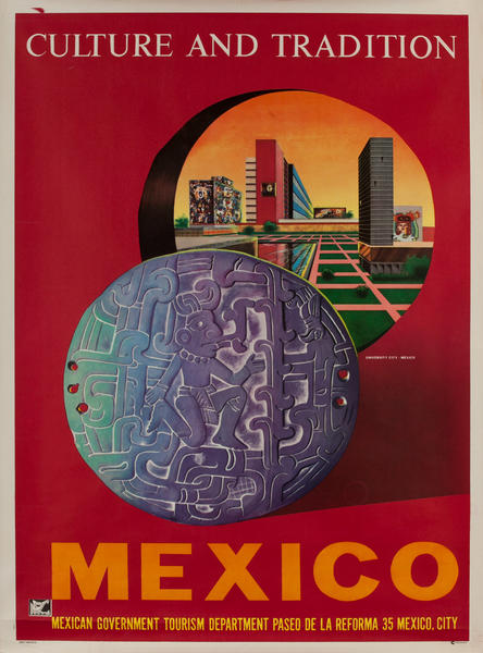 Mexico Culture and Tradition, Original Travel Poster University City