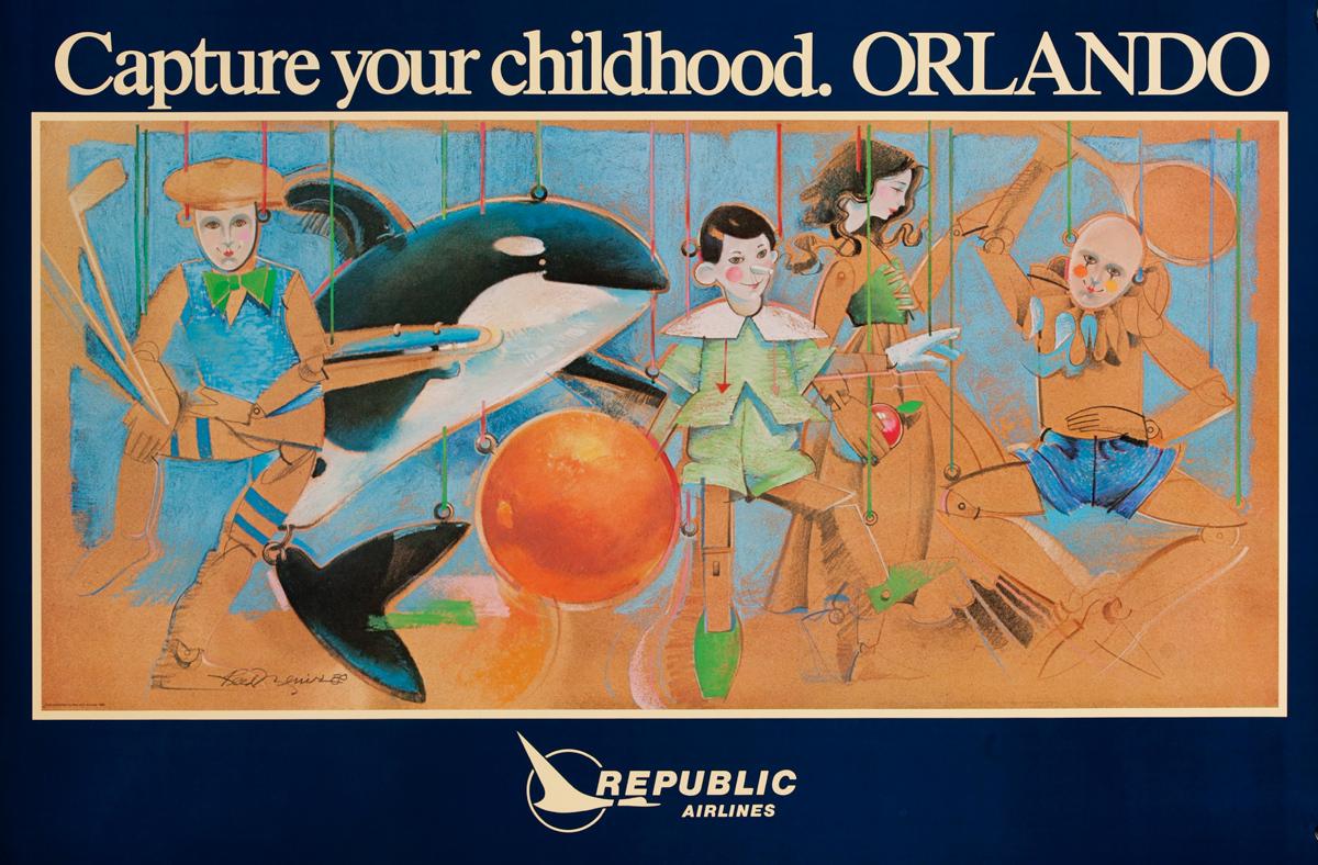 Republic Airlines, Capture Your Childhood.Orlando, Original Travel Poster