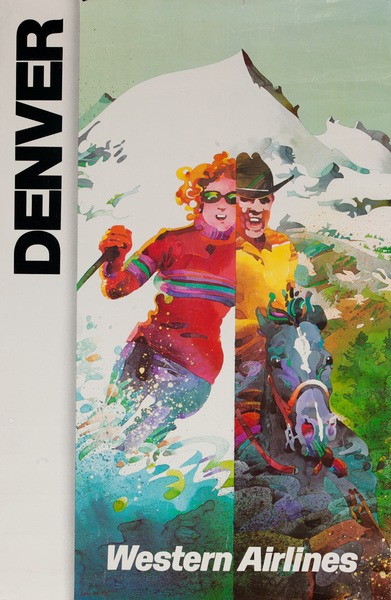 Western Airlines Denver, Cowboy - Skier, Original Travel Poster