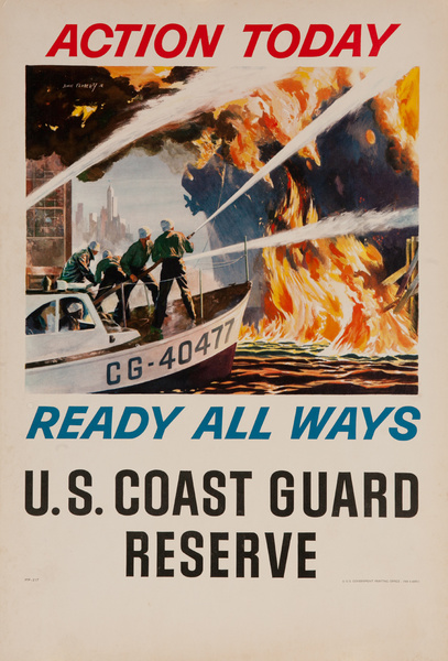 Action Today, Ready All Ways, US Coast Guard Reserve Vietnam War Era Recruiting Poster