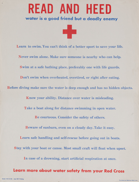 Read and Heed Red Cross Water Safety Poster