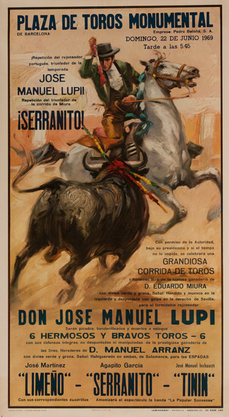 Plaza de Toros Monumental, Don Jose Manual Lupi Spanish Bullfight Poster