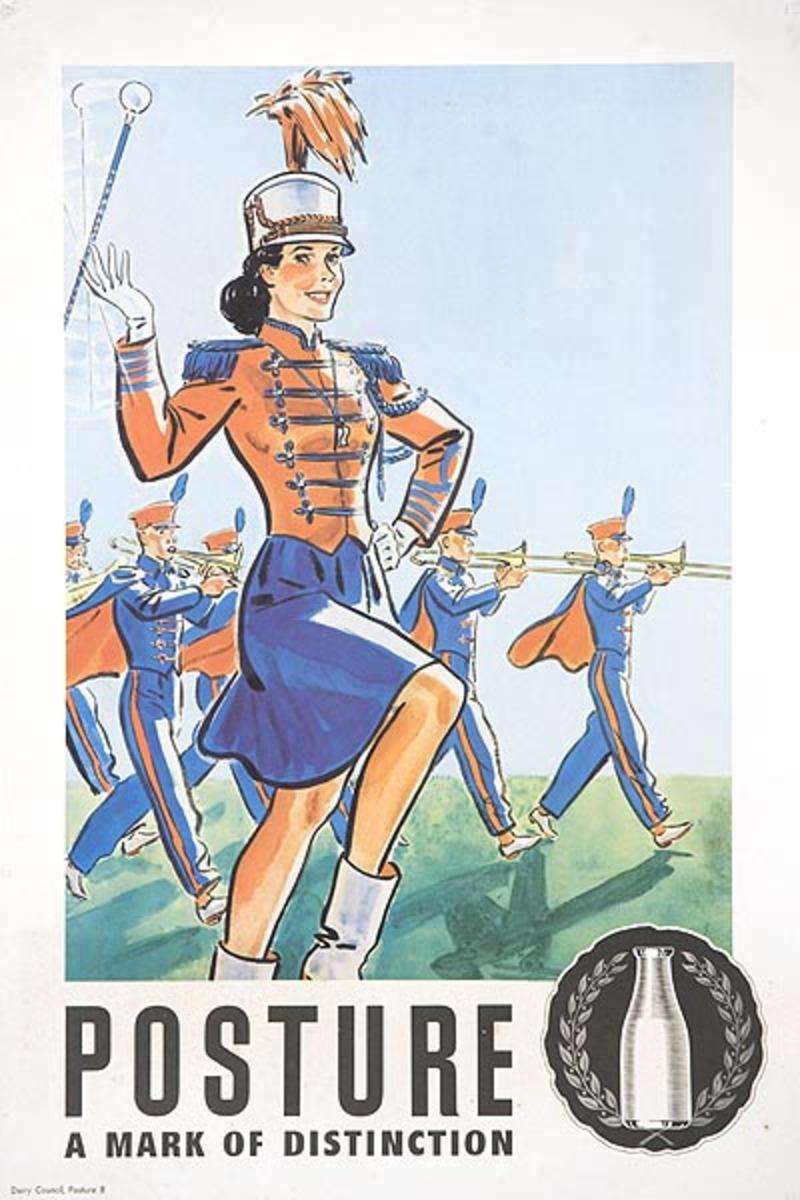 Posture a Mark Of Distinction Original Original Dairy Council Promotional Poster Baton Twirler