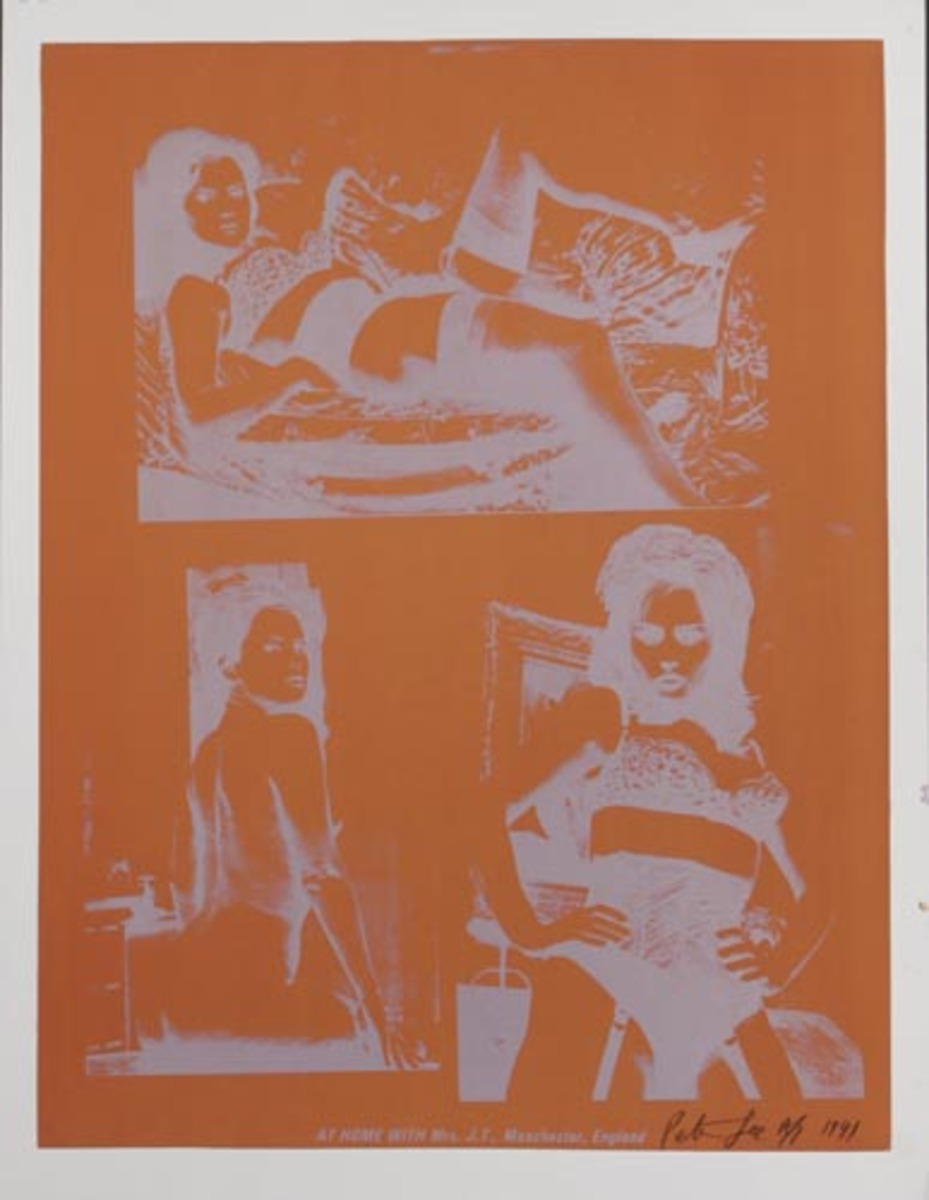 At Home With Mrs. J.T., Manchester, England Original HAND SIGNED A/P Peter Gee Silkscreen Print orange silver