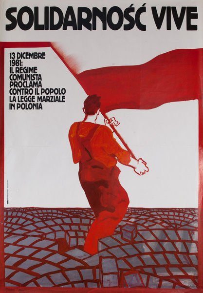 Solidarity Lives, Solidarnosc Vive, Original Italian Pro-Polish Solidarity Poster.