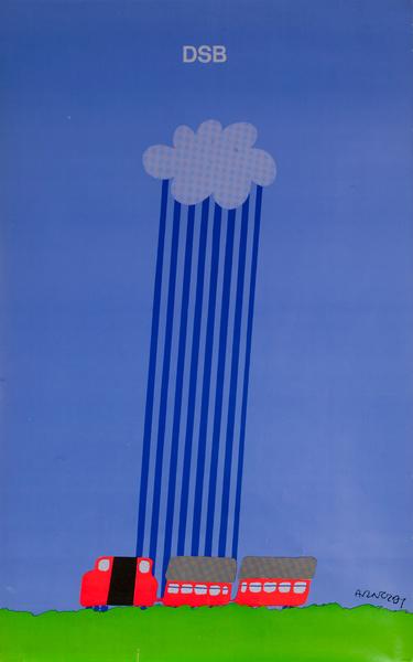 DSB,Danske Statsbaner, Danish State Railroad Poster blue
