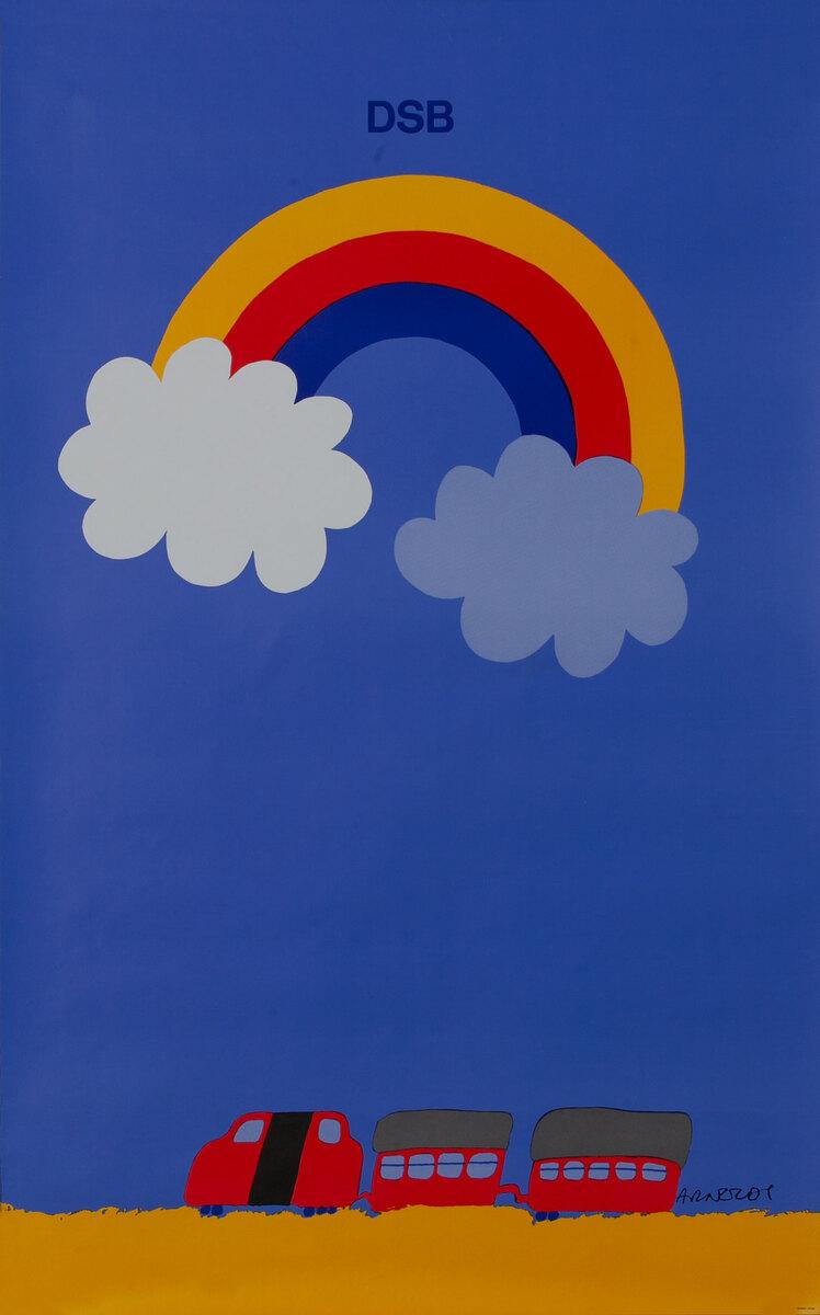 DSB, Danske Statsbaner, Danish State Railroad Poster, rainbow