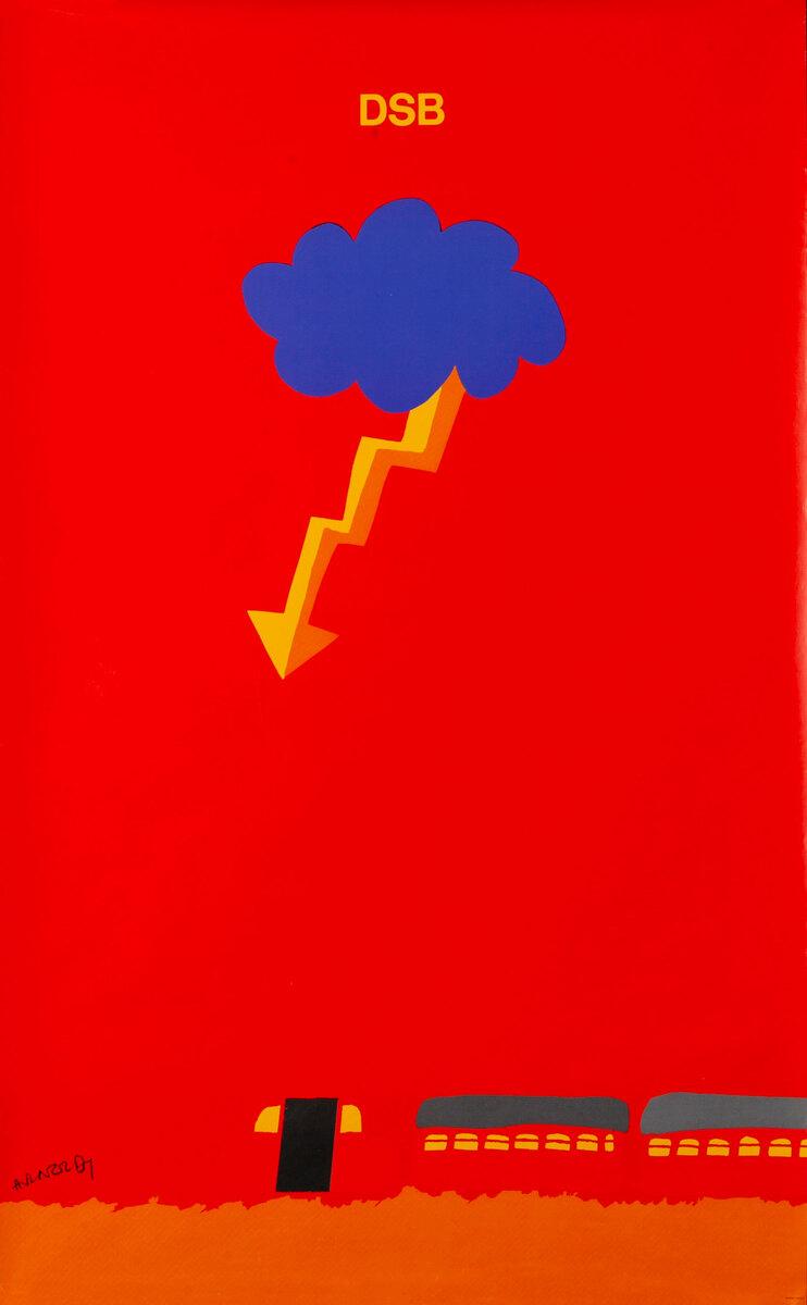 DSB, Danske Statsbaner, Danish State Railroad Poster, lightning