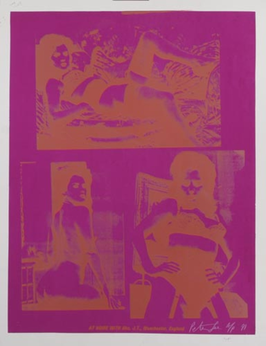 At Home With Mrs. J.T., Manchester, England Original HAND SIGNED A/P Peter Gee Silkscreen Print pink orange