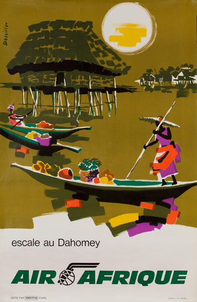 Air Afrique, escale au Dahomey, Stop in Dahomey, Original Travel Poster