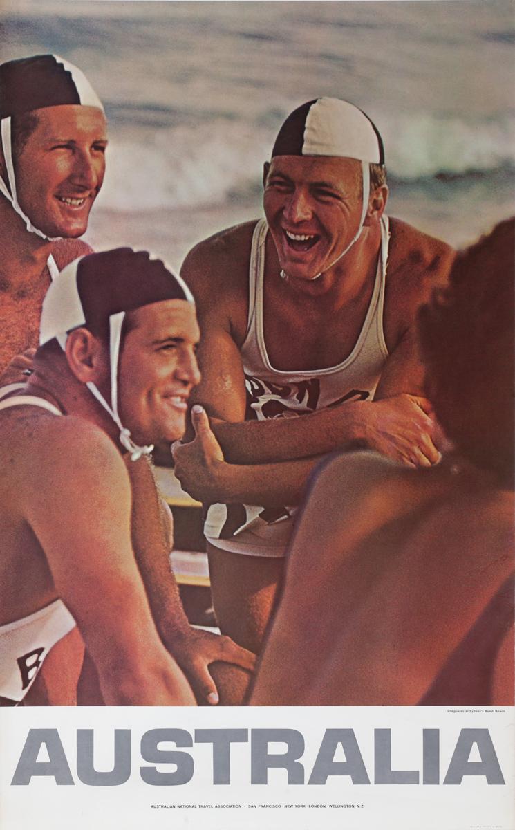 Australia, Lifeguards at Sidney's Bondi Beach, Original Travel Poster