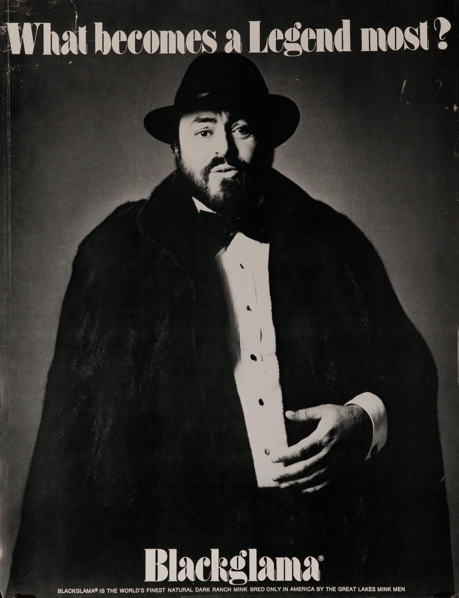 Luciano Pavarotti Original Blackglama Fur Advertising Poster