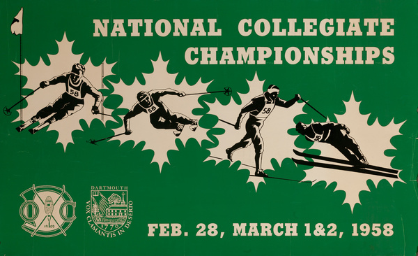 Original 1958 National Collegiate Championship Ski Poster, Dartmouth College