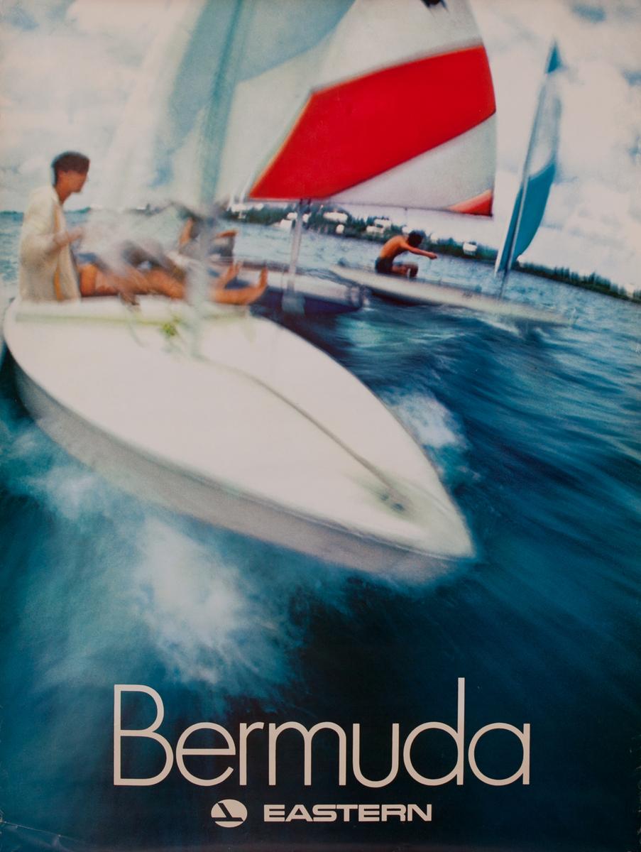 Bermuda, Original Eastern Airlines Travel Poster, sailboats