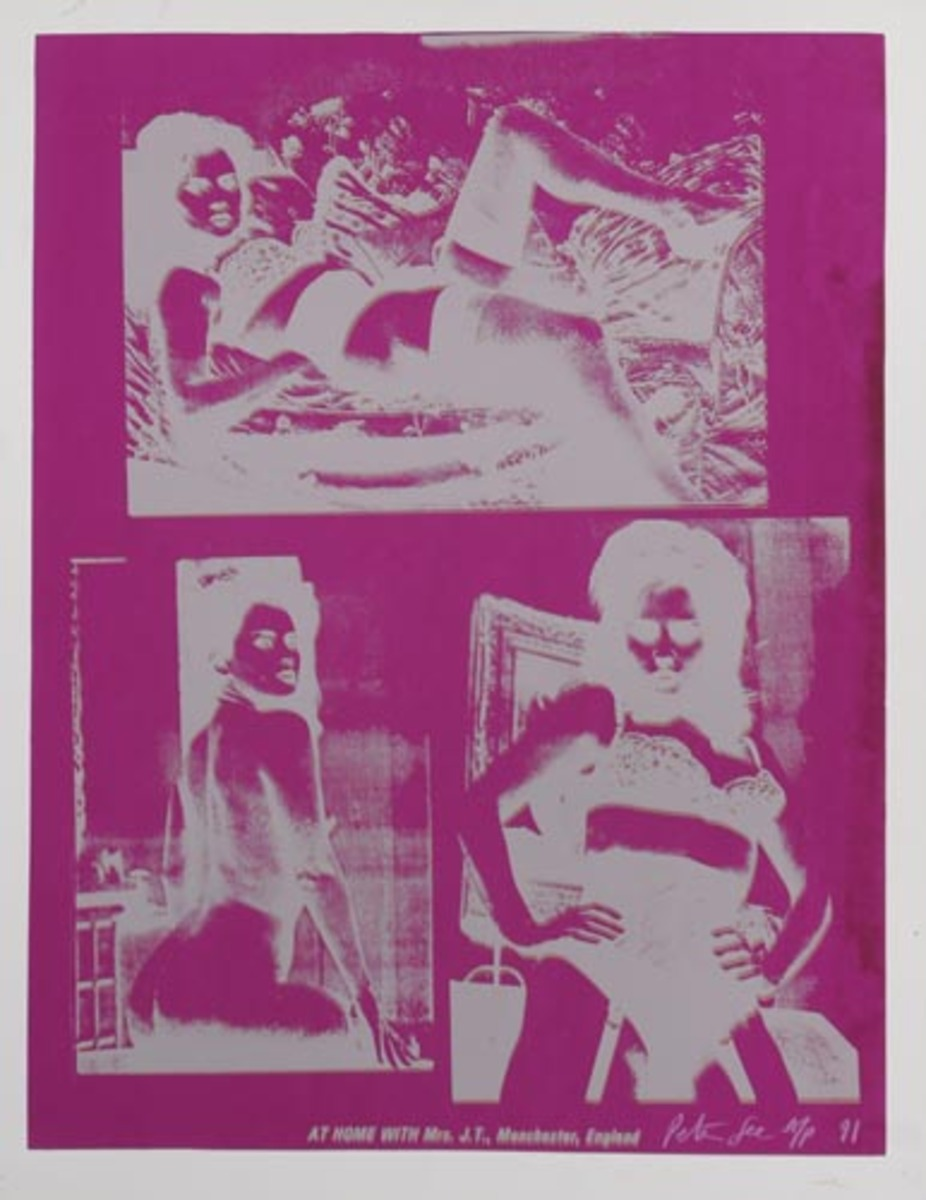 At Home With Mrs. J.T., Manchester, England Original HAND SIGNED A/P Peter Gee Silkscreen Print purple silver