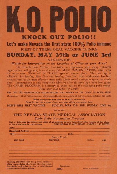 K O Polio, Knock Out Polio, Let's make Nevada the first state 100% Polio immune. Original Health poster.
