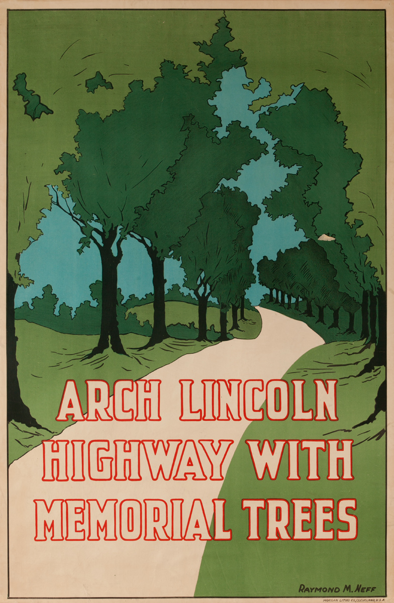 Arch Lincoln Highway with Memorial Trees, American Travel Poster