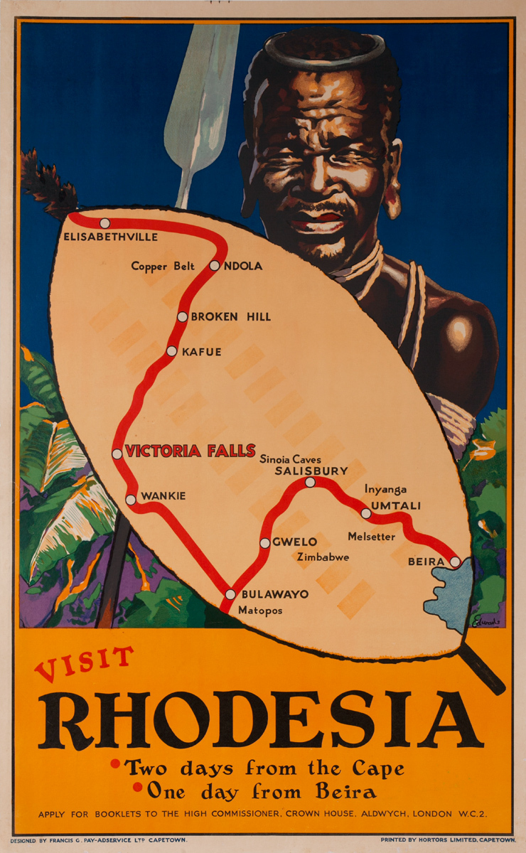 Visit Rhodesia: Two days from the Cape. One day from Beira, Original African Travel Poster