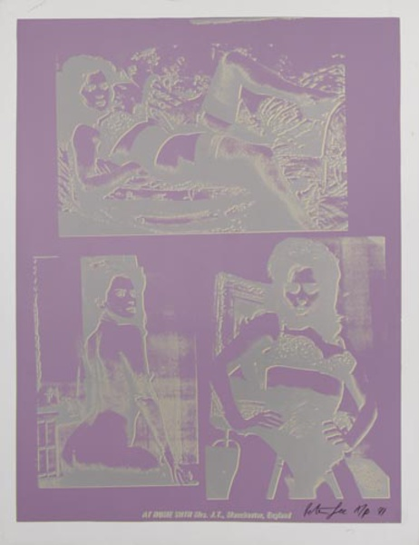At Home With Mrs. J.T., Manchester, England Original Peter Gee Silkscreen Print purple silver