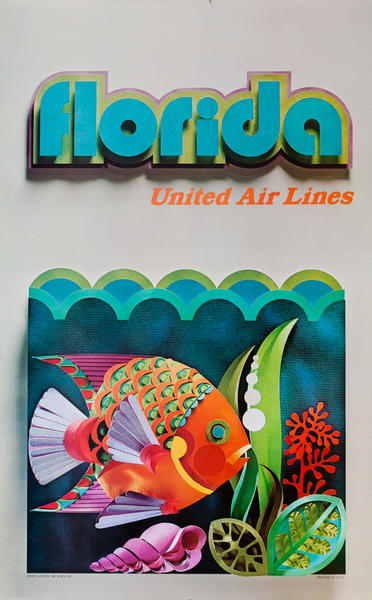 Florida, United Airlines Travel Poster, colorful fish