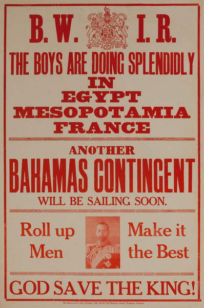 British West Indies, The Boys Are Doing Splendidly in Egypt... Original British WWI Recruiting Poster