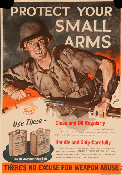 Protect Your Small Arms, There's No Excuse for Weapon Abuse, Original WWII Poster